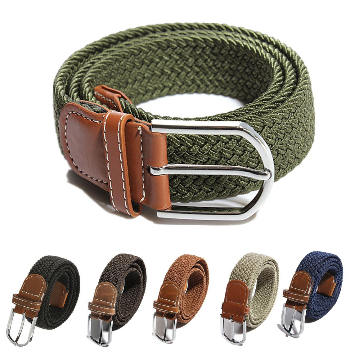 Fashion Unisex Men Women Casual Strech Braided Elastic Fur Leather Buckle Belt High Quality Belts 16 Colors p3836Buy mate