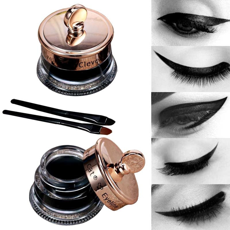 Long Lasting 1pcs Henna Eye Liner Gel + 1pcs Make Up Brush Waterproof Black Eyeliner Tattoo Gel P3398Buy mate