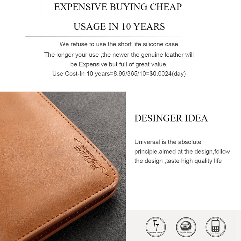 Genuine Leather Wallet Pouch Case for iphone 7 6s Plus , Real