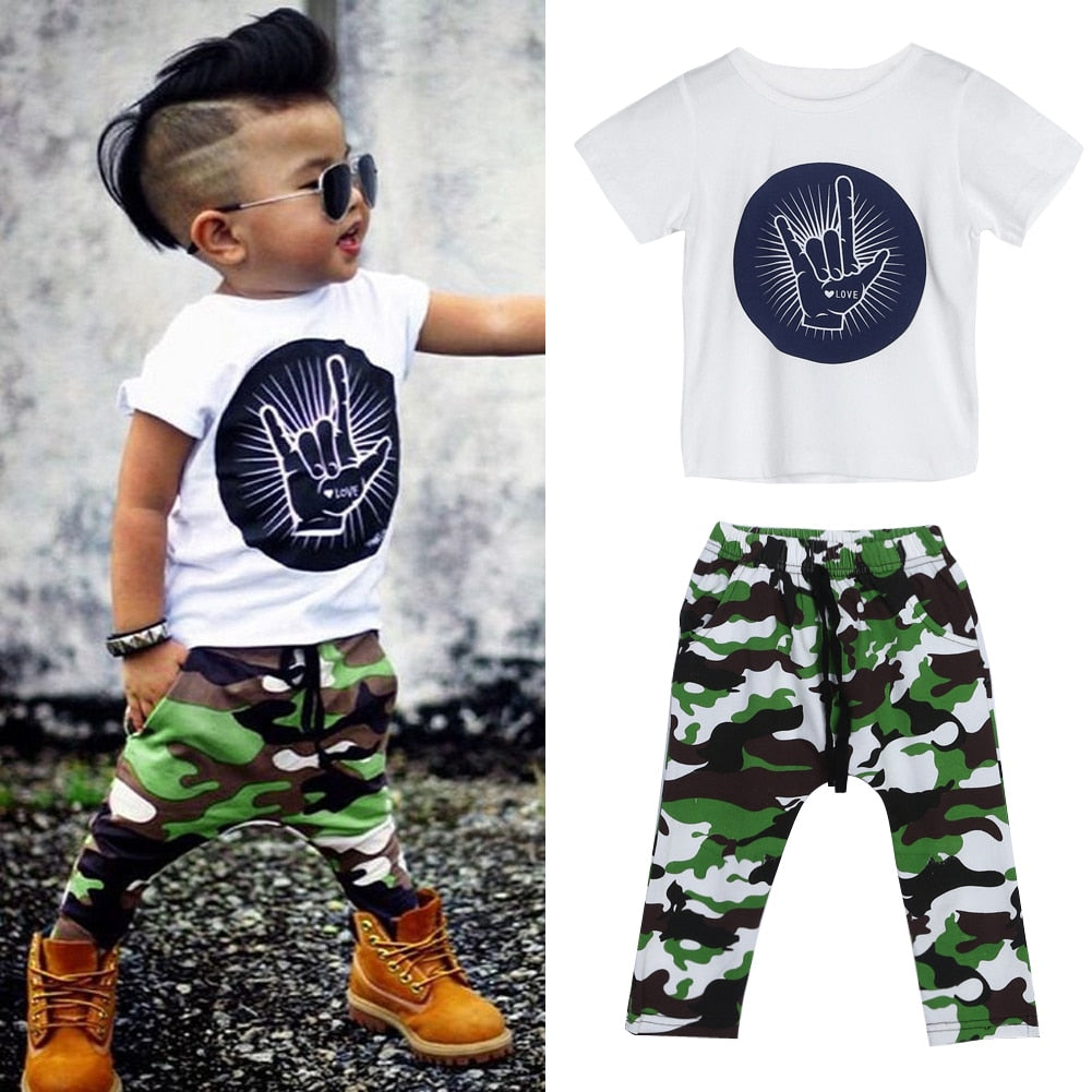 Baby Boy Clothing Set Summer Rock Gesture Tops T-shirt + Army Military Camouflage Pants p2671