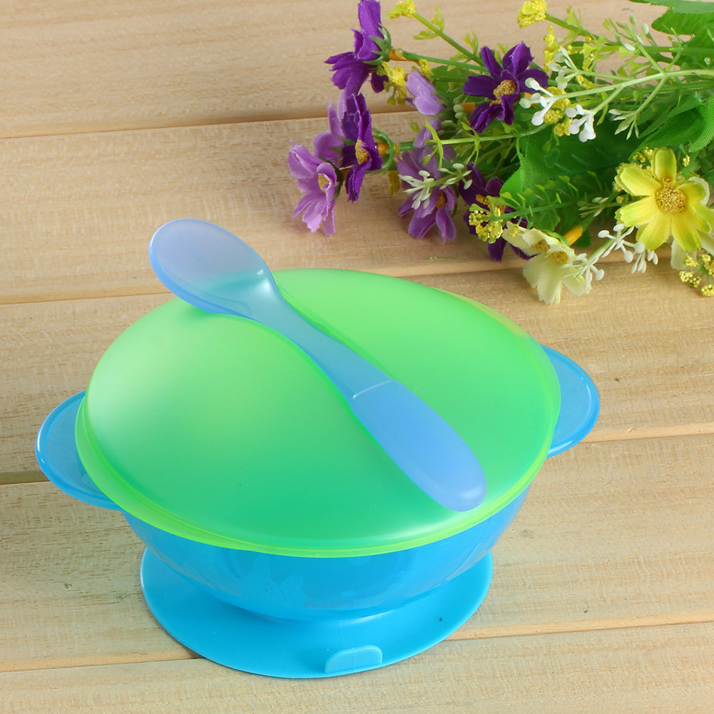 Baby Dishs Sucker Bowl Spoon Tableware Dinnerware Set Kids Baby