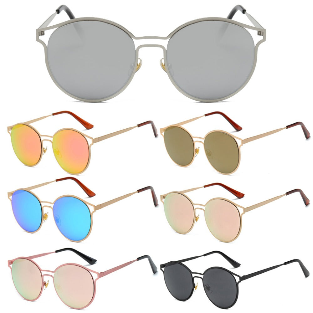 Women's Glasses Round Frame Metal Lens Vintage Fashion UV400 protection Mirrored Sunglasses p6096