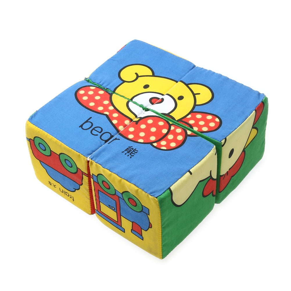 3D Baby Soft Cubes Cloth Building Blocks Children Cubes Multifunctional Magical Rattle Bell p2756Buy mate