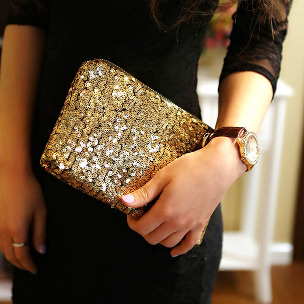 NEW Womens Fashion Sparkling Sequins Clutch Evening Party Bag