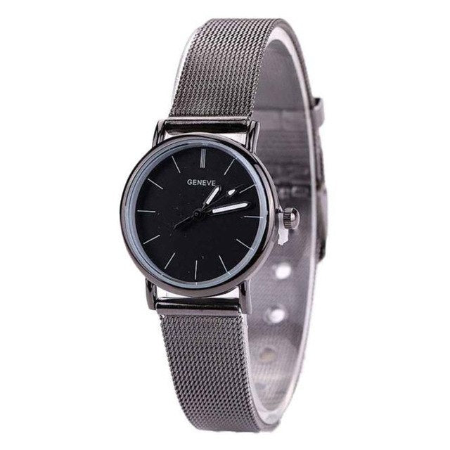 Lovers Luxury Brand Metal Hot Mesh Band Quartz Wrist Watch Role Luxury Watch p3486Black 2Buy mate