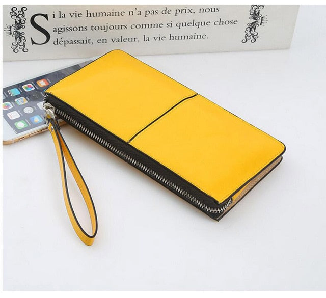 Women Wallets Candy Oil Leather Wallet Long Design Day Clutch
