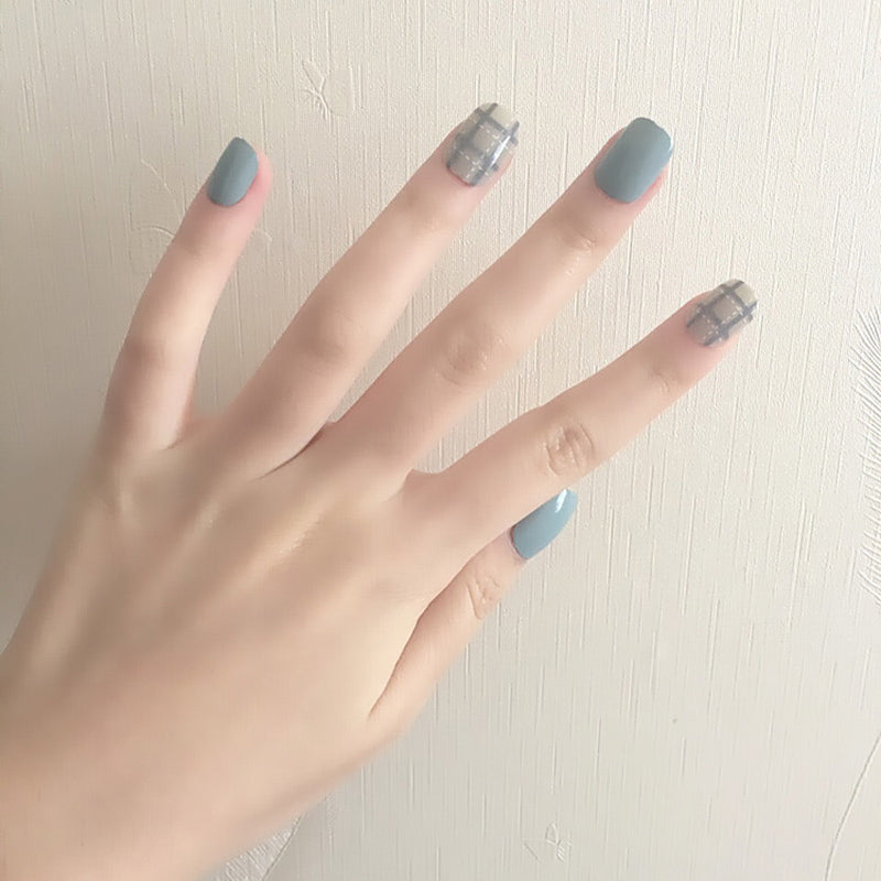 Blue Grey Style Art Short Fake Sticker Nail Tips Acrylic False Stickers With Glue Gel p3913Buy mate
