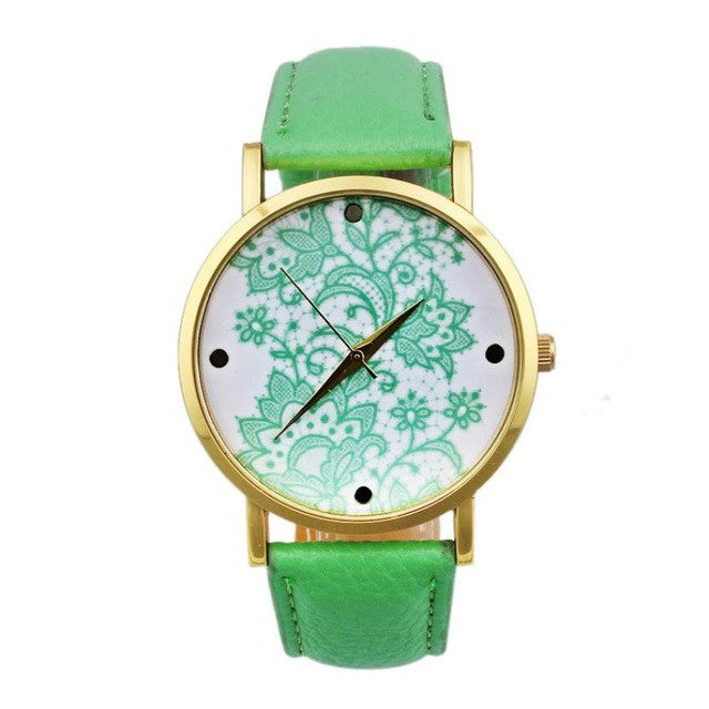 Fashion Watches women Quartz Watches PU Leather Flower Print Women Casual Wristwatches relogios feminino p3511Light GreenBuy mate