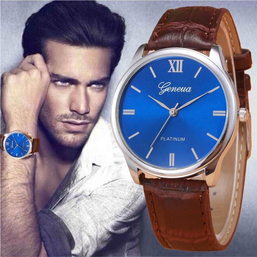 New Design Mens Watch Faux Leather Band Analog Quartz Wrist Watch