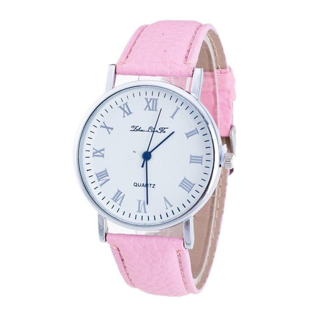 luxury watch Brand Female Fashion Temperament Leather Belt With Simulated Quartz Round Watch bracelet P3376PinkBuy mate