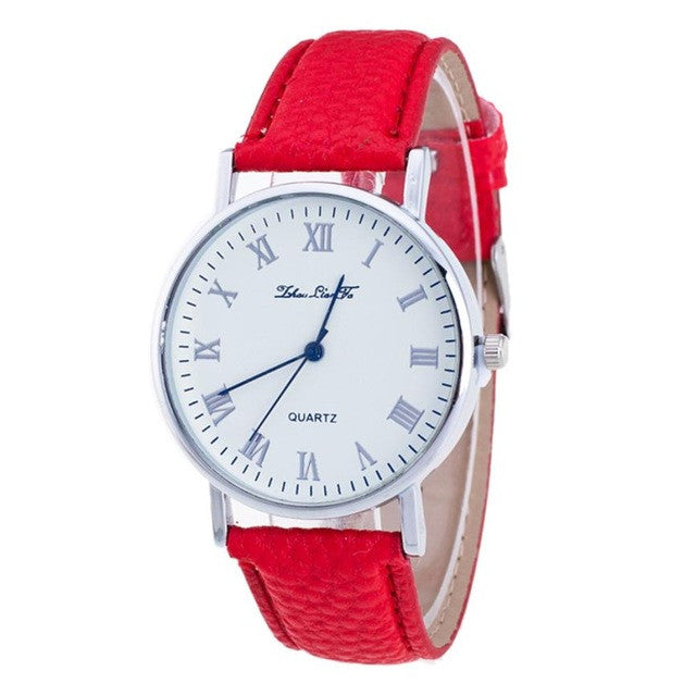 luxury watch Brand Female Fashion Temperament Leather Belt With Simulated Quartz Round Watch bracelet P3376RedBuy mate