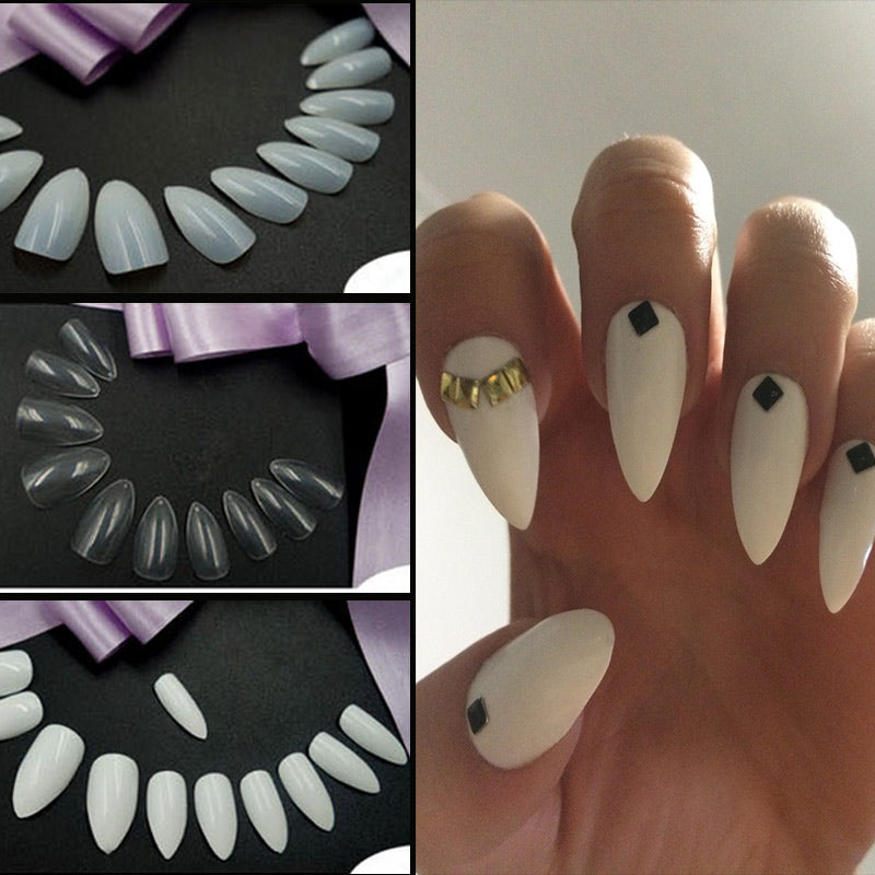 Sharp End Nail Art Full Cover Oval Stiletto False Fake Nails Tips Manicure Artificial Nails Salon p3916Buy mate
