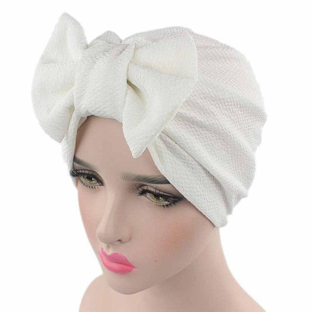 Solid Knitted hat Women Bow Hat Beanie Scarf Turban Head Wrap Cap For bandana bowknot Wrap hat Cap p3789