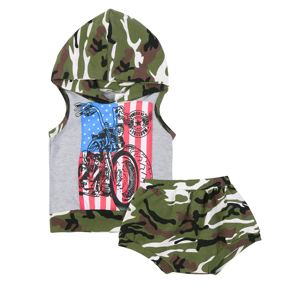 Summer Children Boy Clothes 2pcs Boys' Suits Hooded Camouflage