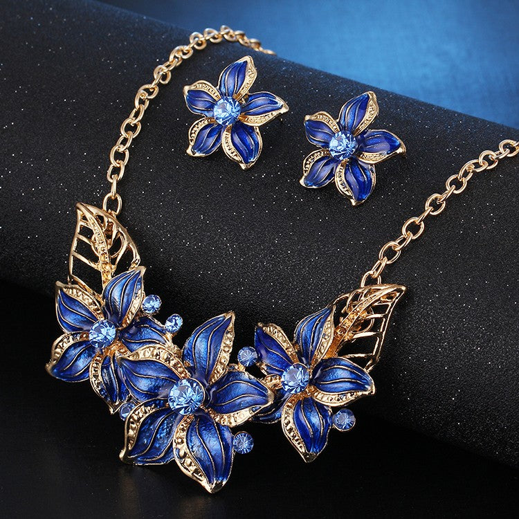 New Crystal Flower Jewelry Set Necklace Earrings African Maxi Statement Jewelry Wedding Bridal P3709