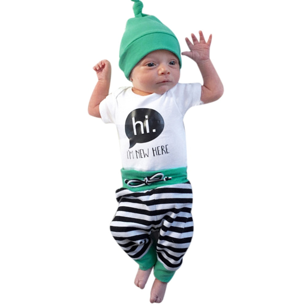 Baby Boys Girls Clothes  Fashion 3pcs Unisex Baby Kids Cotton Short Sleeve Romper+Striped Long Pants+Hat Clothing p2670