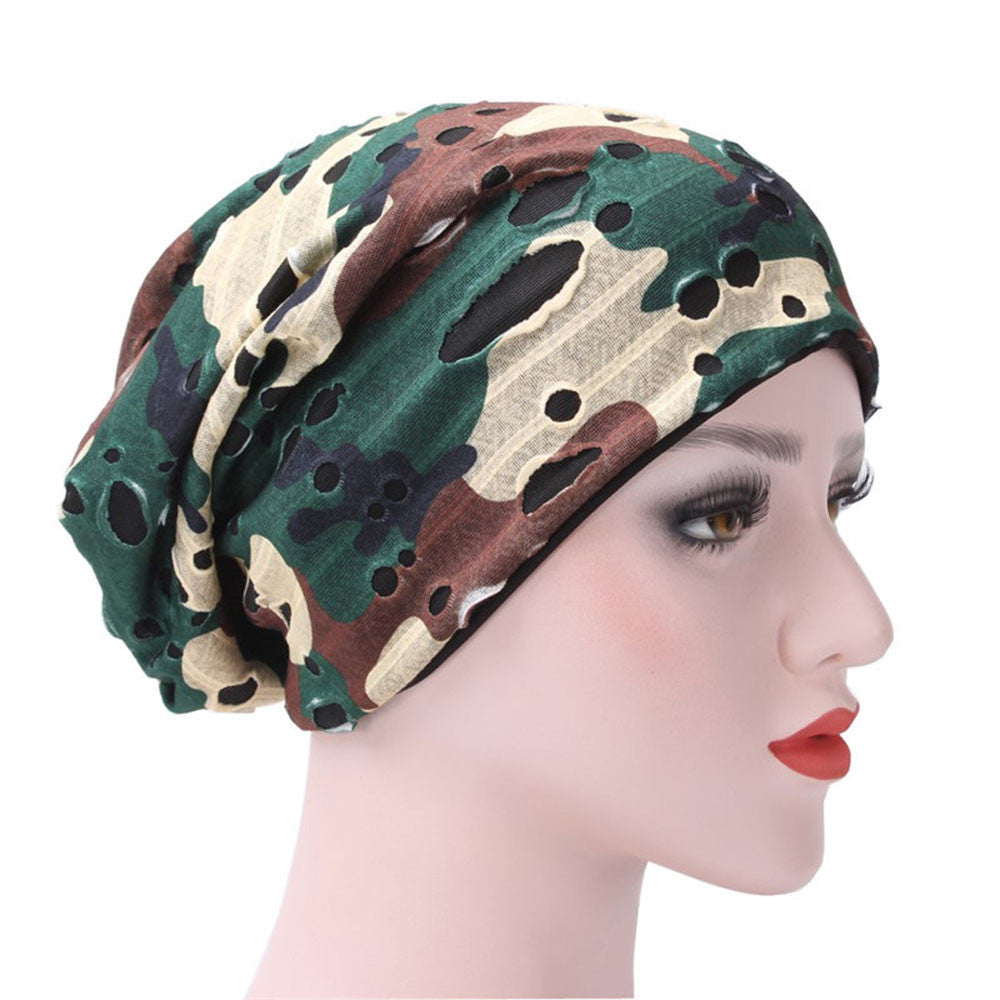 New Arrival Winter Women Hat Ruffle Hat Beanie Scarf Turban Head Wrap Holes Cap p3787
