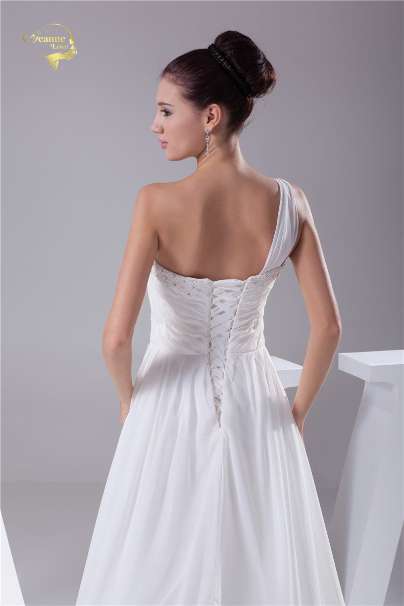 Luxury Vestido De Noiva Robe De Mariage Bridal A Line Chiffon Lace Applique One Shoulder Wedding Dresses p3705Buy mate