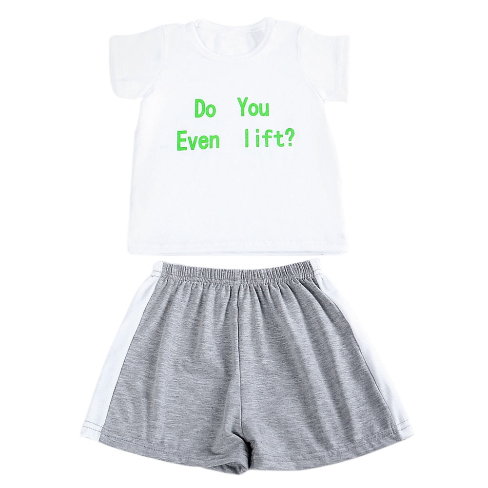 Baby Clothing Sets Children Boys Girls Kids Letter Printed White