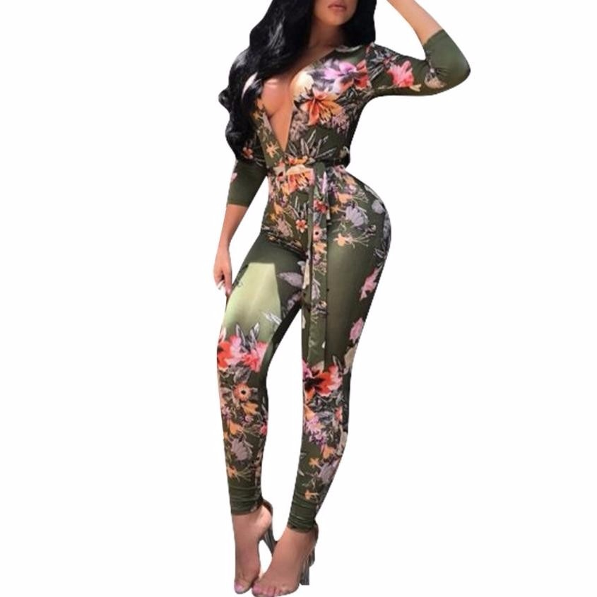Jumpsuits For Women 2017 Sexy Deep V Neck Autumn Bodycon Long Sleeve Africa Print Bandage Jumpsuit Salopette Femme p0531