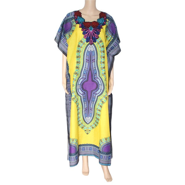 New Women Indie Folk Dashiki Dress Fashion Traditional African Print Maxi Vestidos Robe Africaine Femme Dashiki Thin p0506