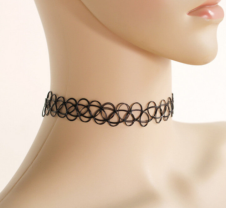 Tattoo Choker Necklace For Women Punk Retro Gothic Elastic