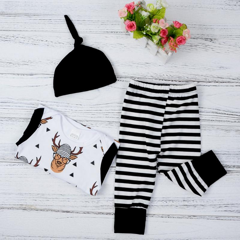 3pcs Christmas Baby Tops Clothes Printed Elk T-Shirt + Stripe