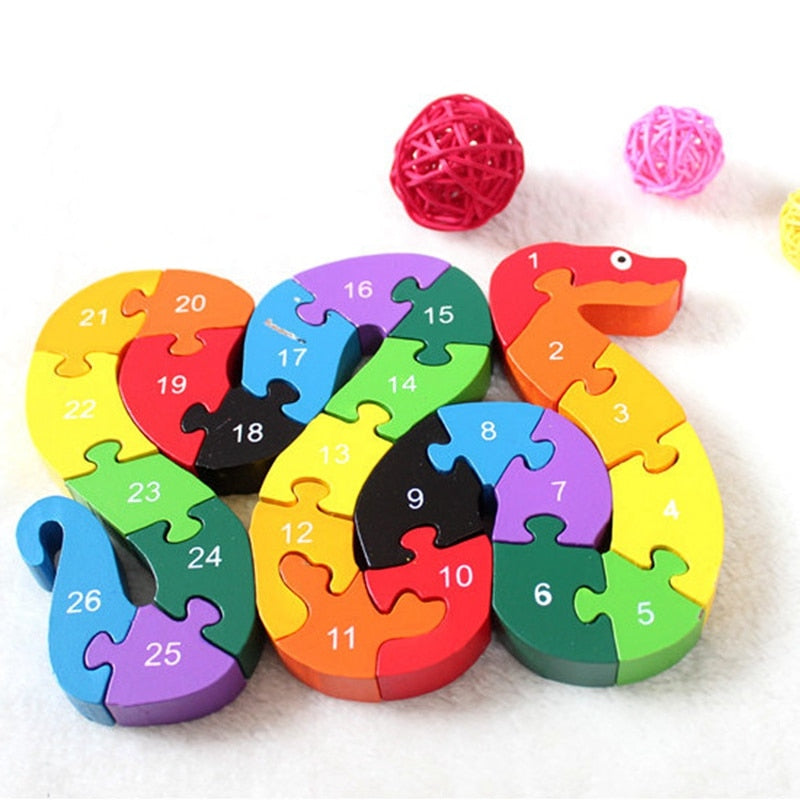 Baby Kids Children Wooden Toys Alphabet Number Building Jigsaw Puzzle Snake Shape Funny p2728Buy mate
