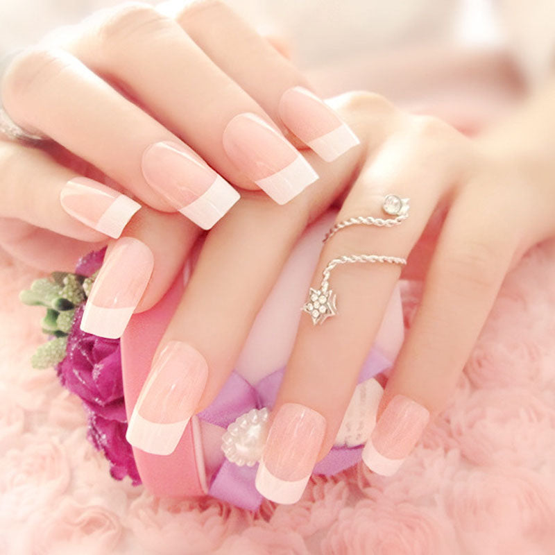 Simple French Long False Nails With Glue Wedding Bride Party Ladies Pink White Fake Full Nail Tips Mixed Size p3915Buy mate