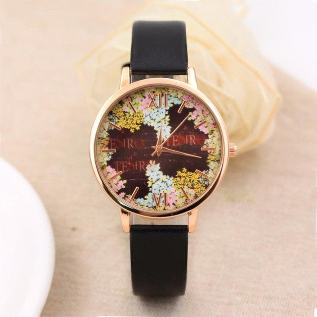 Fashion Casual Quartz-Watch PU Leather Watch Clock Woman Relojes Mujer Montre Femme P3802BlackBuy mate