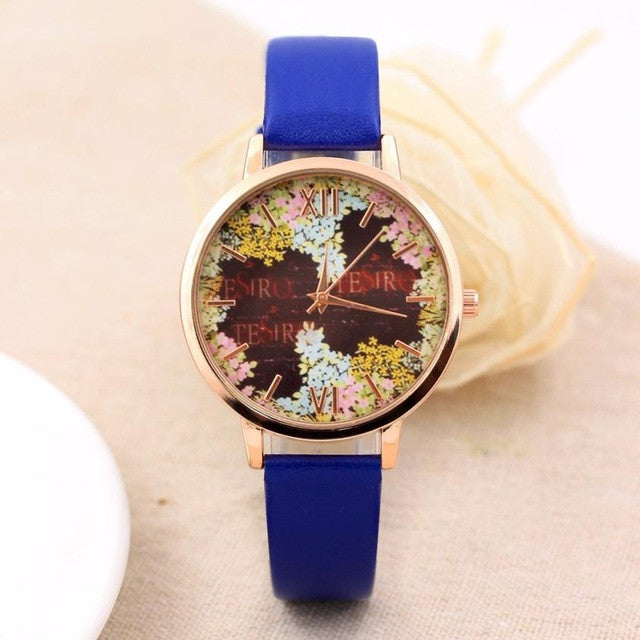 Fashion Casual Quartz-Watch PU Leather Watch Clock Woman Relojes Mujer Montre Femme P3802BlueBuy mate