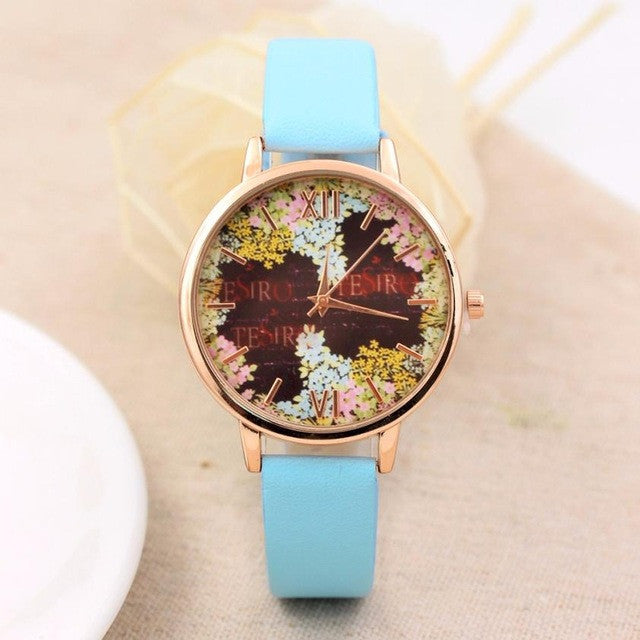 Fashion Casual Quartz-Watch PU Leather Watch Clock Woman Relojes Mujer Montre Femme P3802Mint GreenBuy mate