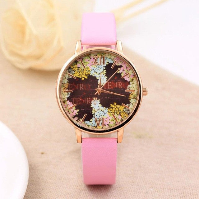 Fashion Casual Quartz-Watch PU Leather Watch Clock Woman Relojes Mujer Montre Femme P3802PinkBuy mate