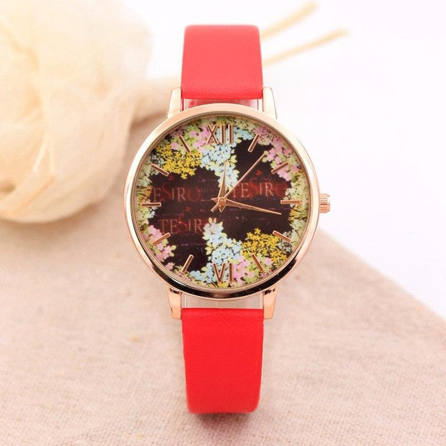 Fashion Casual Quartz-Watch PU Leather Watch Clock Woman Relojes Mujer Montre Femme P3802RedBuy mate
