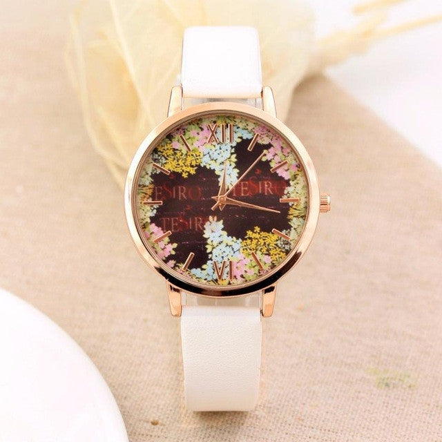Fashion Casual Quartz-Watch PU Leather Watch Clock Woman Relojes Mujer Montre Femme P3802whiteBuy mate