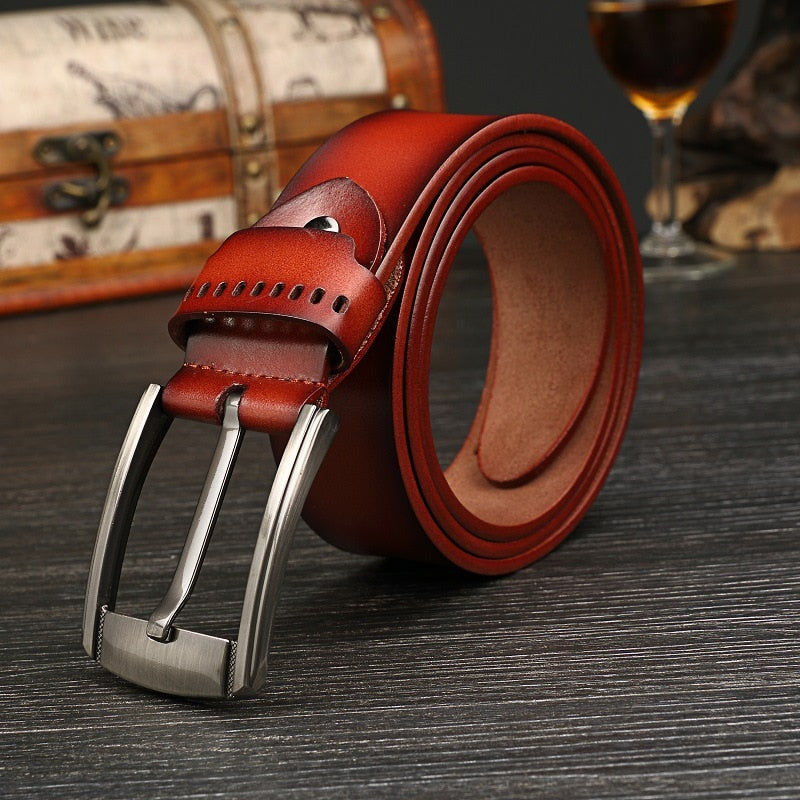 Men's belts fashion 100% cowhide genuine leather for Male Straps pin Buckles Waistband fancy vintage jeans p3813Buy mate