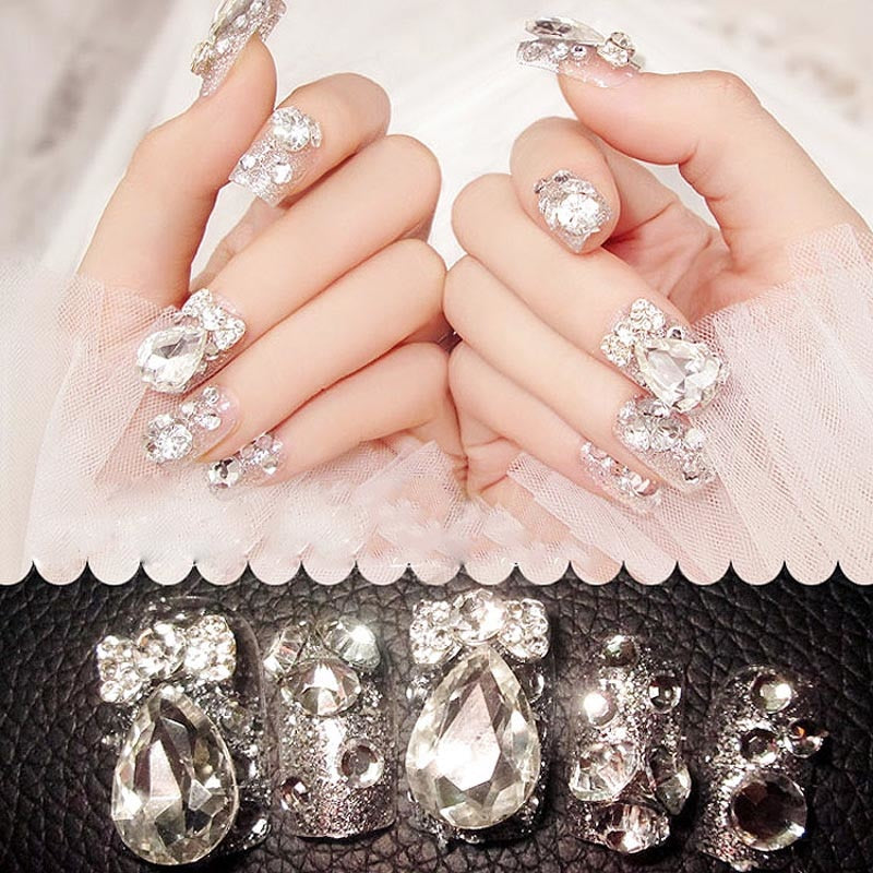 Hot Selling Wedding Bride False Nail Tips Shining Rhinestone Fake Nails With Glue Sticker p3643Buy mate