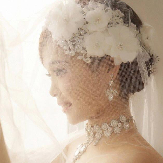 New Handmade Tiara Wedding Bridal Floral Lace Pearl Headpiece Hairpin p3694Default TitleBuy mate