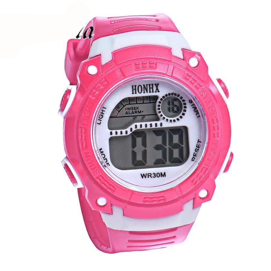 Children Girls Digital LED Quartz Alarm Date Sports Wrist Watch