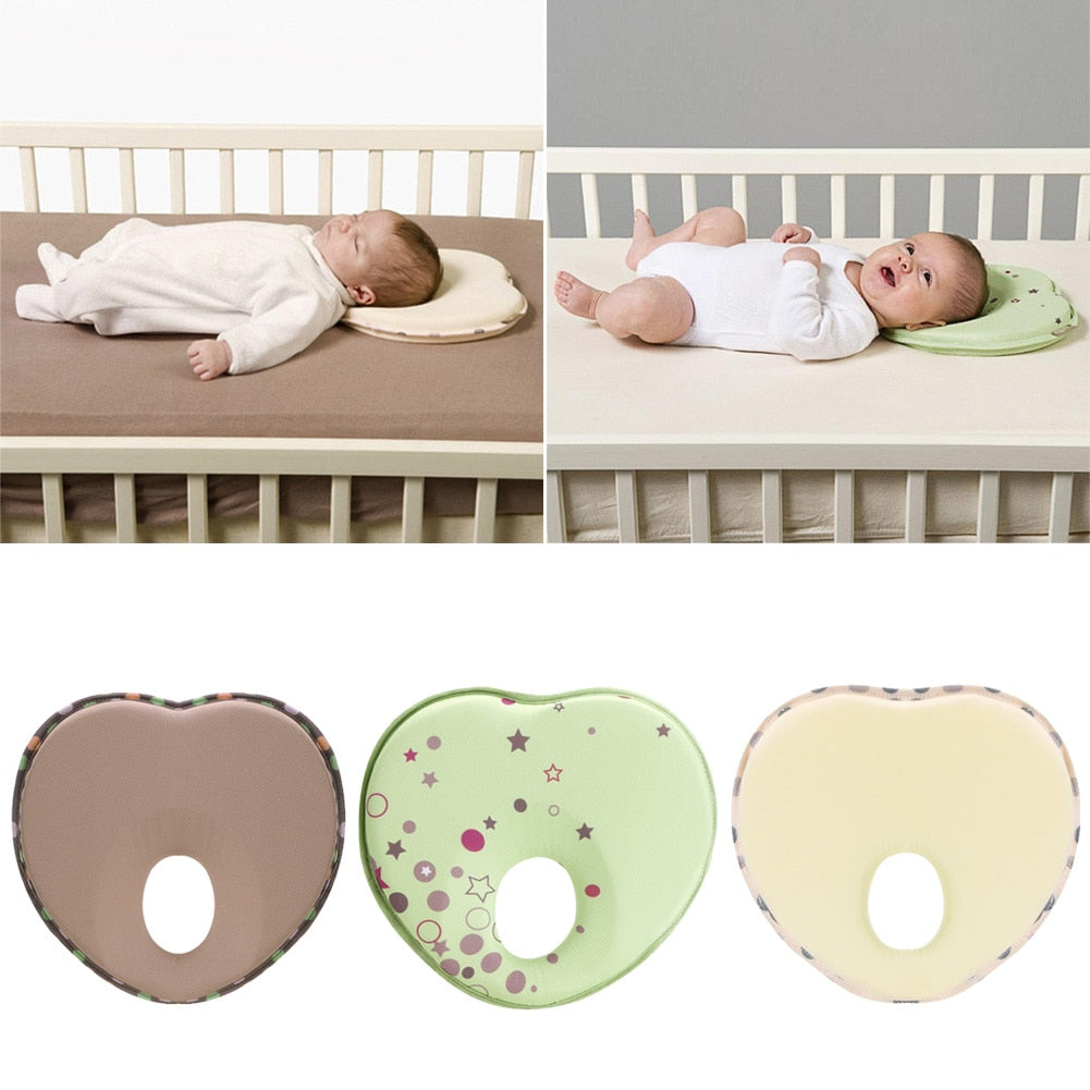 Heart Shape Pillow for Newborn Baby Head Protection Anti Roll