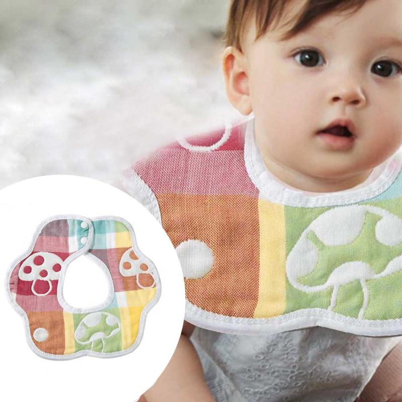 Baby Kids Round Cartoon Cotton Bibs Feeding Burp Cloth 360