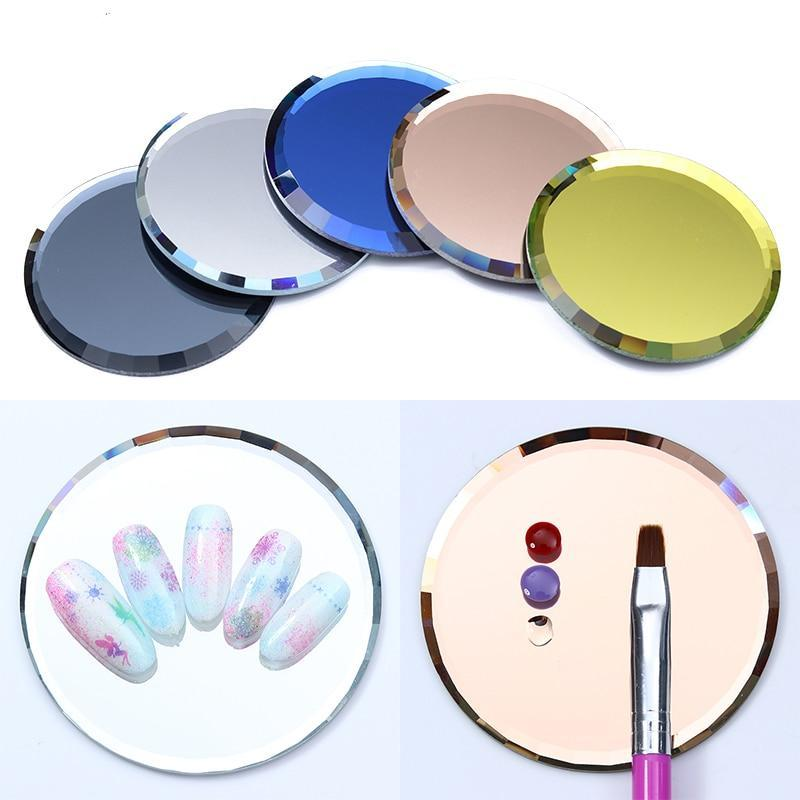 Mirror Glass Color Palette False Nail Tips Display Board Tool Practice