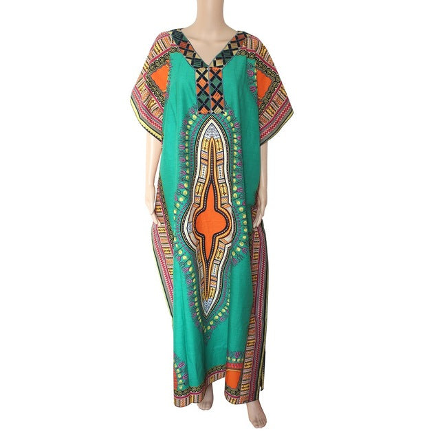 Vintage African Dresses For Women Embroidery African Print Maxi Summer Dress Dashiki Dress Robe Africaine Femme P0505