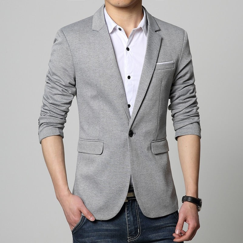 Slim Fit Fashion Blazers Suit Jacket Male CasualPlus size M-5XL Coat Wedding dress Black Silver Beige Wine Red p3548Buy mate