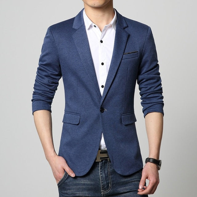 Slim Fit Fashion Blazers Suit Jacket Male CasualPlus size M-5XL Coat Wedding dress Black Silver Beige Wine Red p35483625Navy Blue / 6XLBuy mate