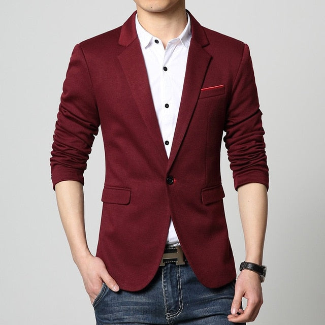 Slim Fit Fashion Blazers Suit Jacket Male CasualPlus size M-5XL Coat Wedding dress Black Silver Beige Wine Red p35483625Dark Red / 6XLBuy mate