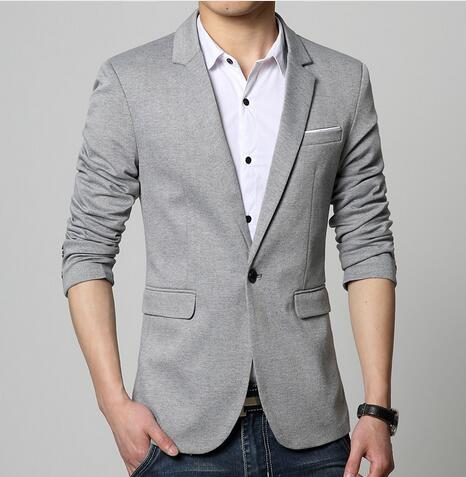 Slim Fit Fashion Blazers Suit Jacket Male CasualPlus size M-5XL Coat Wedding dress Black Silver Beige Wine Red p35483625Silver / 6XLBuy mate