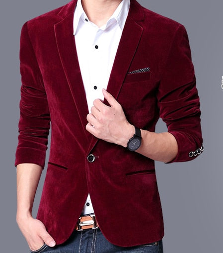 Mens blazer slim fit suit jacket black navy blue velvet  spring autumn outwear coat Free shipping Suits For Men p35366105 wine red / 4XLBuy mate