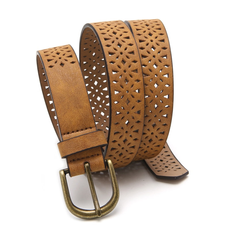 Women Pattern Hollow Buckle Thin Skin Wide Belt Cummerbund Women's Strap Dress Belt Brown Waistband Luxury p3817Buy mate
