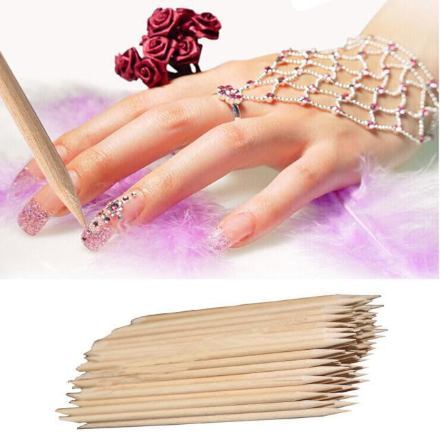 100Pcs Nail Art Orange Wood Stick Cuticle Pusher Remover Pedicure